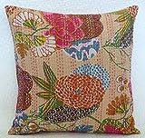 Ganesham- Kantha Decorative Handmade Cotton Pillow Case, Fruit Cushion Cover, Decorative Sofa Boho Chic Bohemian Pillow Throw (16x16) inch