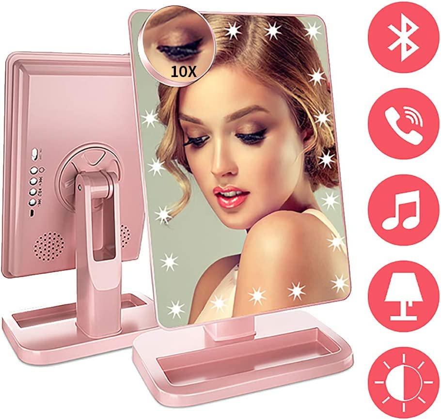 Fenchilin Makeup Mirror with Bluetooth - 20 LED Lights Makeup Mirror with Wireless Audio Speaker,USB Charger Cable & Removable 10X Magnifier,180 Rotation Vanity Mirror (Rose Gold)