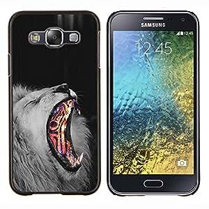 Stuss Case / Funda Carcasa protectora - León de Fuego abstracto Negro Rey Blanco África Piel - Samsung Galaxy E5 E500