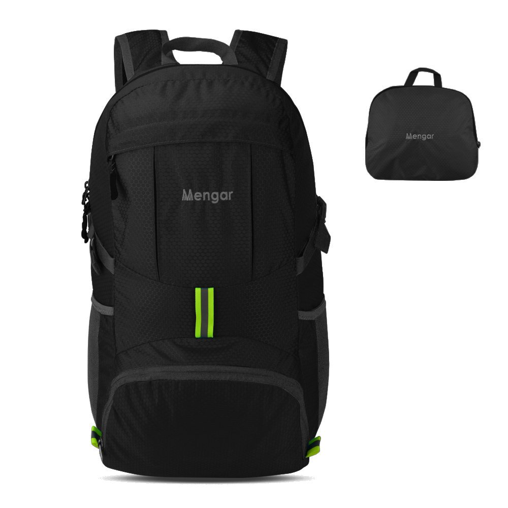 Backpack Daypack,Travel Backpack, Mengar 35L Foldable Water Resistant Packable Backpack Hiking Daypack - Ultralight and Handy & Lifetime Warranty (Black New) by Mengar