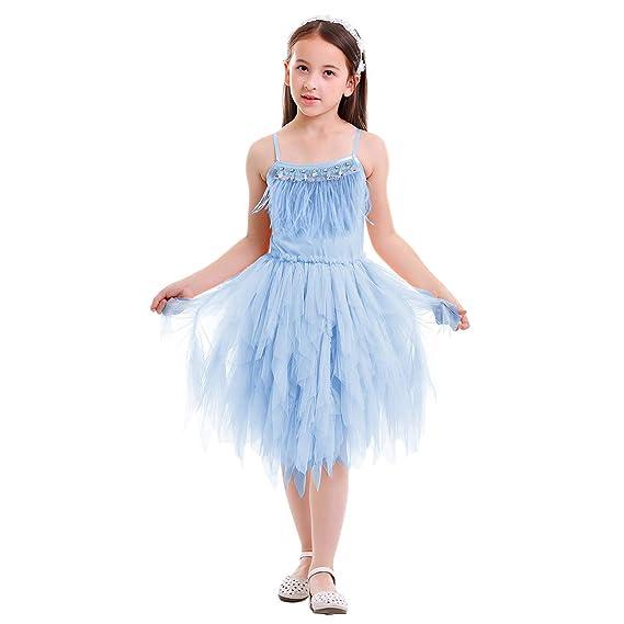 OBEEII Bambina Vestito Principessa in Tulle Arricciati con Piume Strass  Abbigliamento Bambine Invernale Eleganti Abito Principessa 0fb5110a2aa