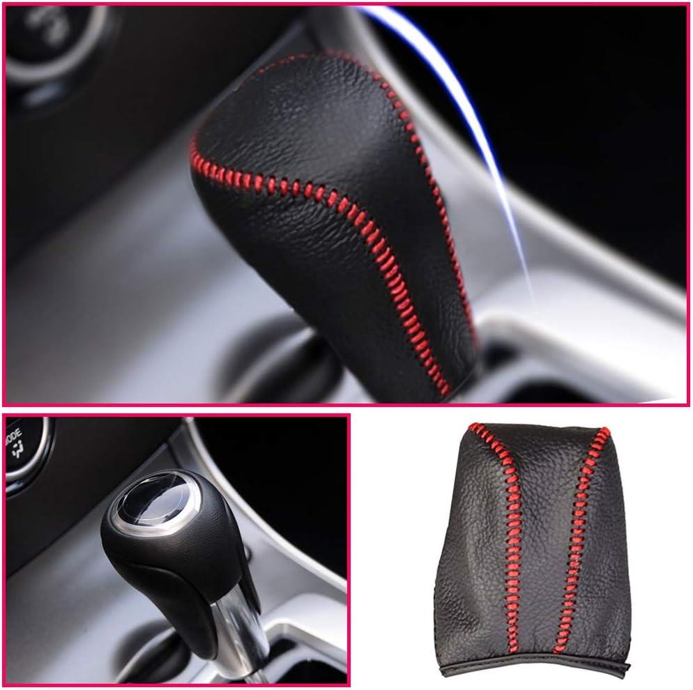 Longzhimei Car Gear Shift Knob Cover for Mazda Axela 09-12 Mazda 8 Mazda 3 09-16 Mazda6 03-11 Automatic Leather Car Gear Shift Lever Cover Type A black and black Thread