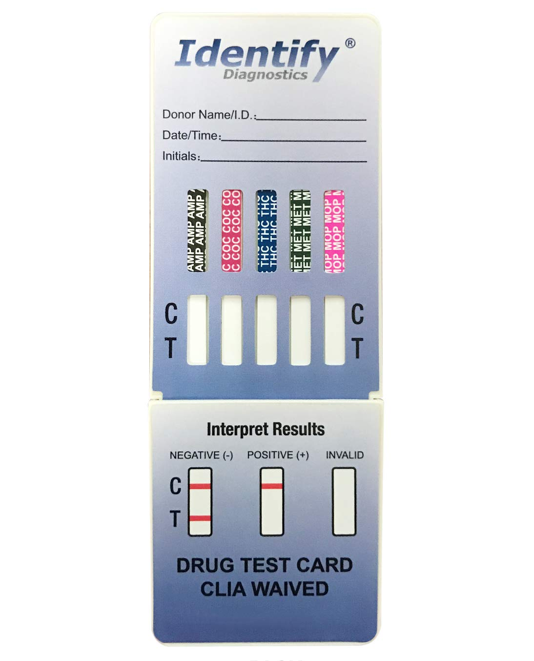 50 Pack Identify Diagnostics 5 Panel Drug Test Dip with Lowest Opiates Cutoff - Testing Instantly for 5 Different Drugs: THC, COC, MOP, MET, AMP #ID-CP5-DIP