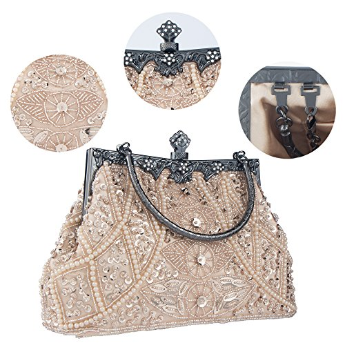Party Purse Style Bag Clutch Beaded Handbag Bagood Sequined Wedding Vintage Evening Women's Champagne And xqF66wUz7f