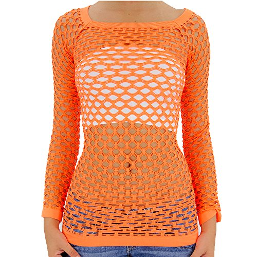 TD Collections Nylon Fishnet Long Sleeve Top Go Go Dance Wear (Small/Medium, Neon Orange)