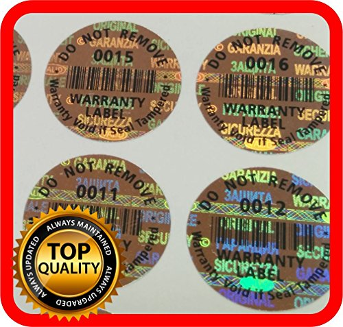 1000 Warranty seals, Security hologram stickers, void tamper evident labels round .59 inch (Tamper Labels compare prices)