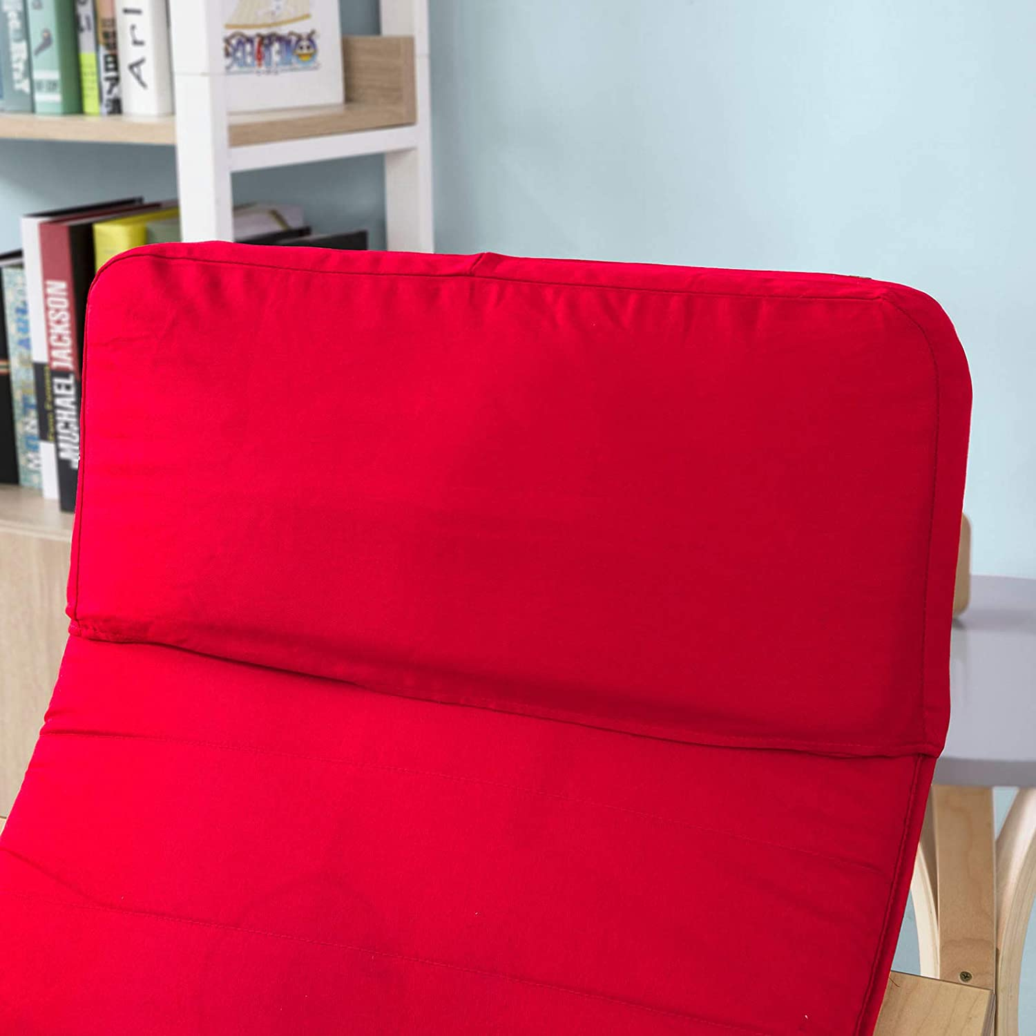 SoBuy Comfortable Relax Rocking Chair with Foot Rest,Lounge Chair,Recliners Poly-Cotton Fabric Cushion Red