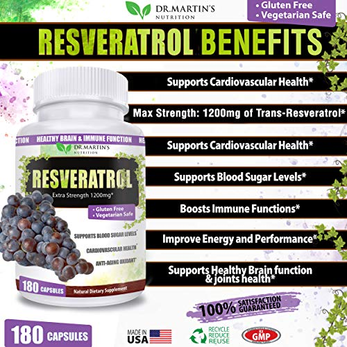 61 jx0cZxtL - Extra Strength 100% Pure Resveratrol 1200mg - 180 Capsules - 3 Months Supply | Antioxidant Supplement | Natural Trans-Resveratrol Pills | for Anti-Aging, Heart Health, Immune System & Brain Function