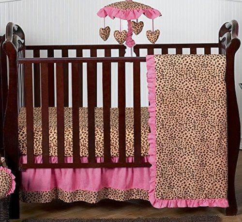 Sweet Jojo Designs Cheetah Animal Print Pink and Brown Baby Girl Bedding 4pc Girls Crib Set Without Bumper Cheetah Print Bedding