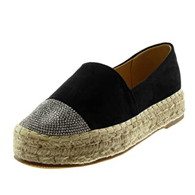 Angkorly Damen Schuhe Espadrilles Slip on Seil Geflochten