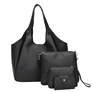 Image Unavailable. Image not available for. Color  Amyove Women Handbag  Set,Solid Color PU Leather Fashion Bag ... 7e833ea8e5