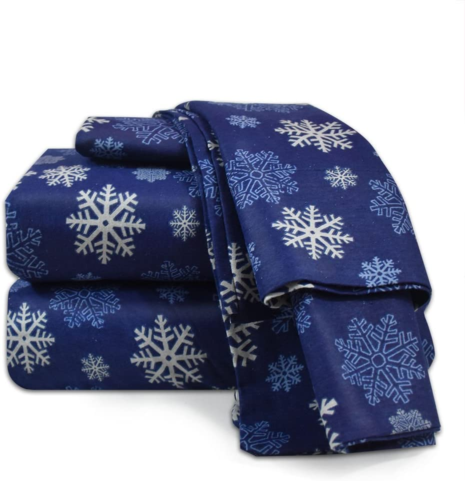 Nestl Bedding Heavyweight 100% Cotton Flannel Sheet Set, Full - Blue Snowflake - Luxurious Soft Hypoallergenic and Very Silky Bedding Fabric Enjoy A Comfortable Sleeping Experience