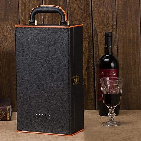 Compra Djbnq Caja de Cuero Set de Vino Negro Bolsas para ...