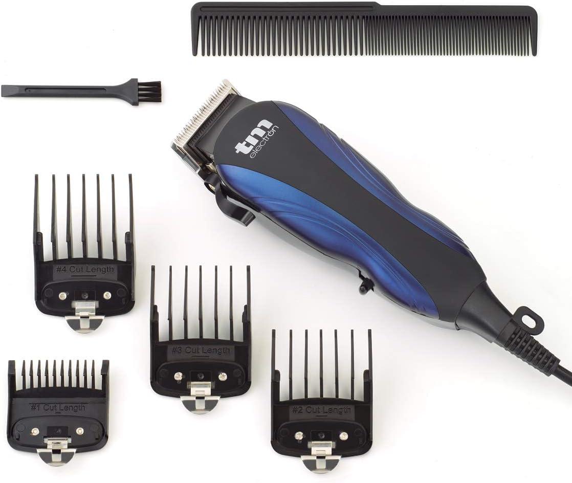 TM Electron TMHC105 - Maquinilla cortapelos profesional con cable de Red, 4 peines y longitud de Corte variable