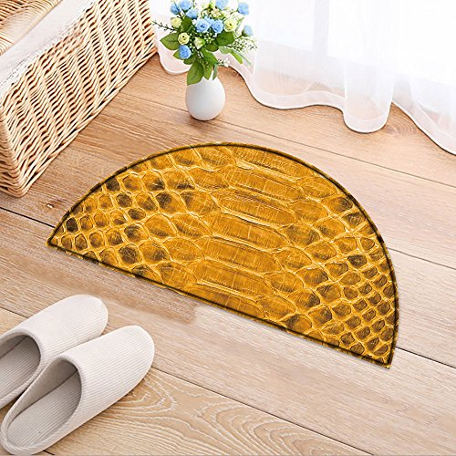 NALAHOMEQQ Half-round Rubber Back Coir Doormat Yellow python leather, skin texture for background Living Room(23.6x15.7 INCH)