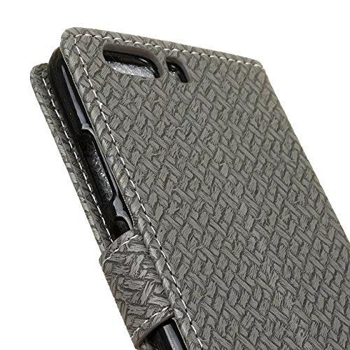 YHUISEN Patrón de armadura de tapa magnética de cuero de la PU Cartera de folio de Flip con soporte / tarjeta de ranura cubierta de la caja de protección para Huawei P10 ( Color : Red ) Gray