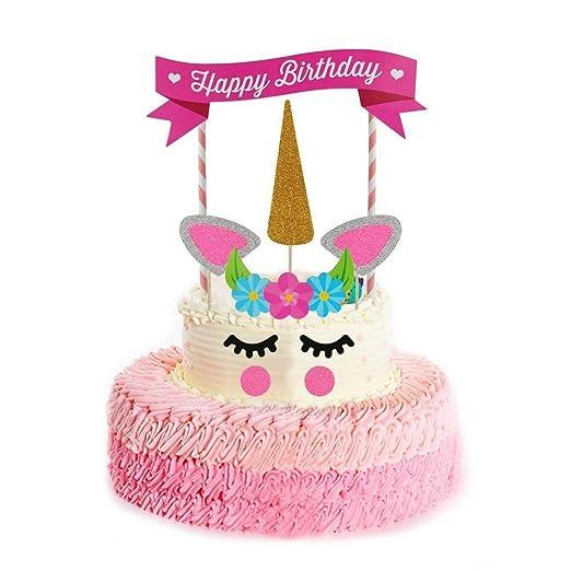 QWER Decoraciones de Unicornio Cake Topper, Hecho a Mano Feliz Cumpleaños Pastel Decoración/Cumpleaños Cake Toppers, Linda Unicornio Cuerno, Orejas y ...