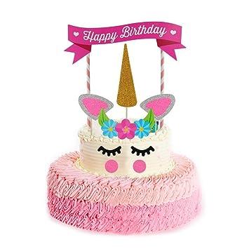 Einhorn Cake Toppers Cake Deko Happy Birthday Kuchendeko Amazon De