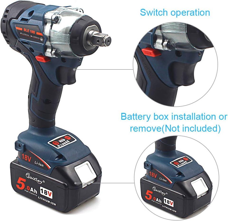 QUPER Llave de impacto inal/ámbrica incluye control de direcci/ón y disparador de velocidad variable y luz LED de trabajo 1/⁄2 pulgadas Square Drive, 350 Nm Torque