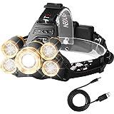 Lampada da Testa LED Ricaricabile, Neolight Potente Impermeabile Torcia Frontale, Zoomable 4 Modalità USB Torcia Testa per Outdoor Pesca Campeggio Correre Camminare Caccia Ciclismo (argento)