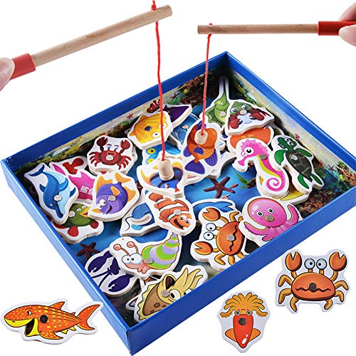 Ourine 磁気釣りゲーム 木製釣りおもちゃ 教育玩具 楽しい磁気パズルゲーム 釣り遊び 釣り竿*2付き ミニ 海兵隊 魚 32枚 3歳以上 (カラー1)