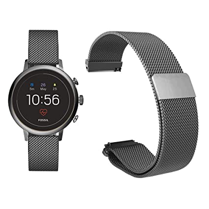 Diruite for Fossil Q Venture HR Band, 18mm Milanese Magnetic Stainless Steel Replacement Strap Band for Fossil Q Venture Gen 3 / Fossil Q Venture HR ...