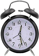 VORCOOL Reloj Despertador Vintage con Doble Campana de Metal Silencioso Luminoso para Hogar Mesa (Negro)