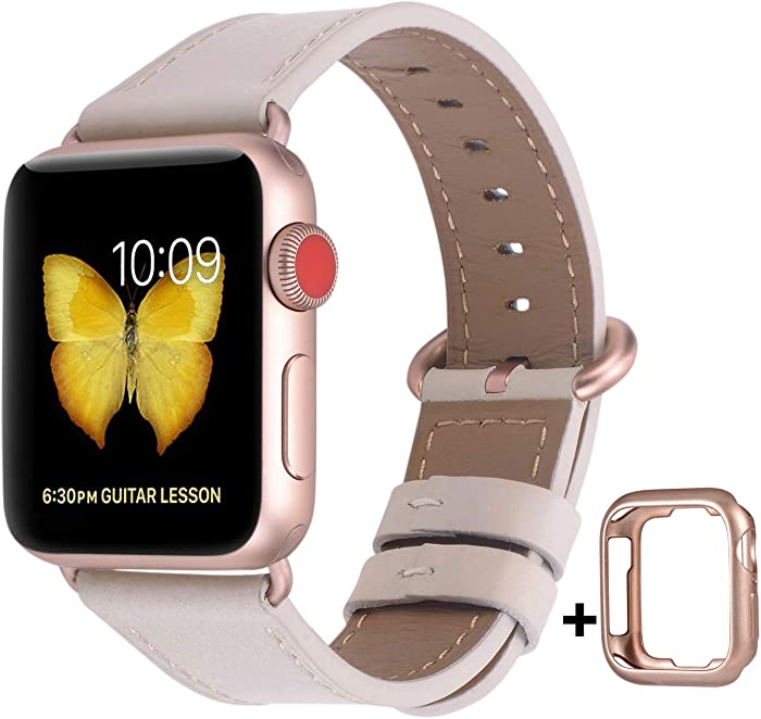 JSGJMY Compatible with Apple Watch Band 38mm 40mm 42mm 44mm Women Men Genuine Leather Replacement Strap for iWatch Series SE 6 5 4 3 2 1 (Ivory White with Series 5/4/3 Rose Gold Clasp, 38mm/40mm S/M)