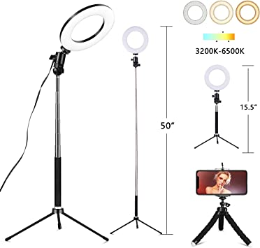 Ring Light for Phone and Camera,12 inches Dimmable Video Light Kit for Facebook YouTube Vlog Makeup Studio Video Shooting Salon Photography,71