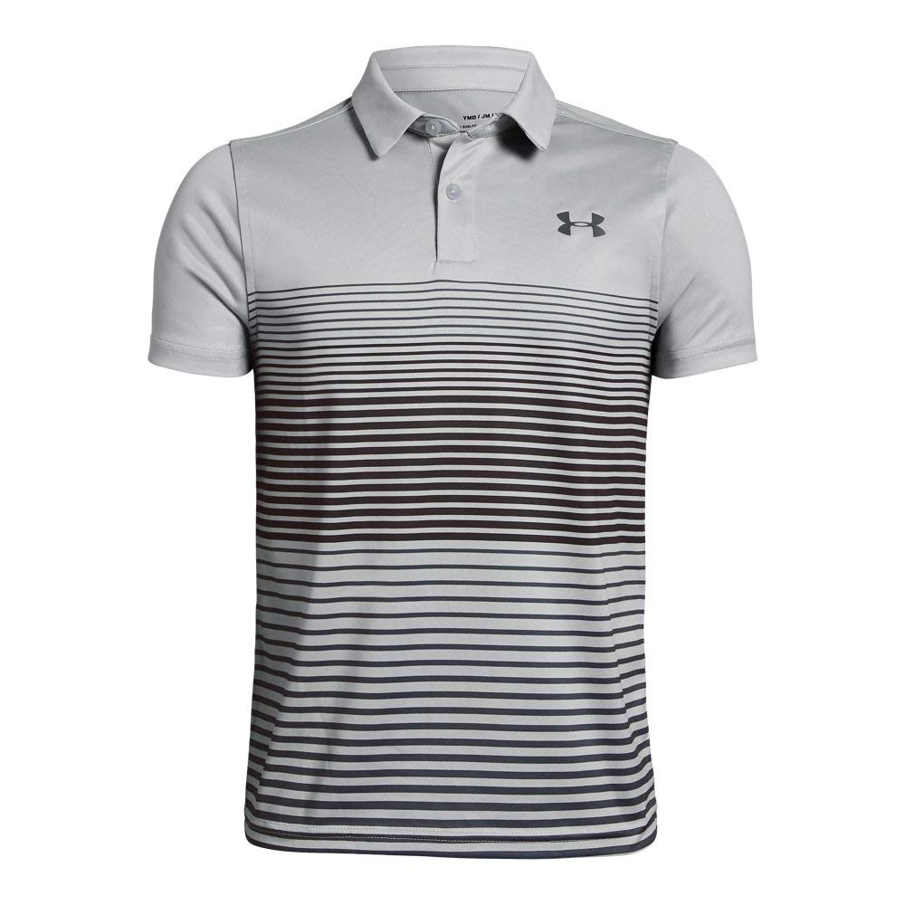 Under Armour Boys' Jordan Spieth 2nd Major Saturday Polo, Mod Gray//Black, Youth X-Large by Under Armour