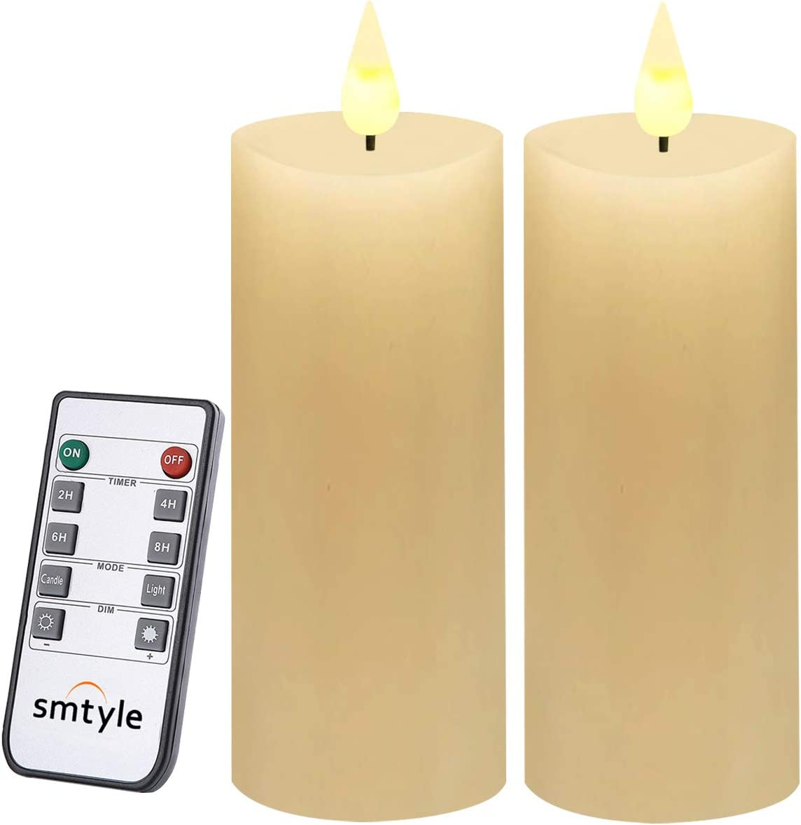 smtyle Flameless Battery Operated Flickering Candles Pack of 2 Made from Food-Grade Paraffin Wax Ivory