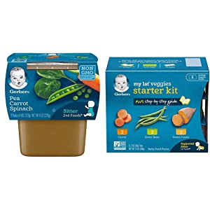 Gerber 2nd Foods Pea, Carrot & Spinach Pureed Baby Food, 4 Ounce Tubs, 2 Count (Pack of 8) & Purees My 1st Vegetables, Box of 6 2 Ounce Tubs (Pack of 2)