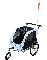Aosom 2-in-1 Pet Dog Bike Bicycle Trailer Stroller Jogger w/Suspension Black & White