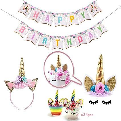Topper de la Torta del Unicornio, Cupcake Toppers y Feliz cumpleaños Banner, Fuente de la Fiesta de cumpleaños del Unicornio para la Fiesta de ...