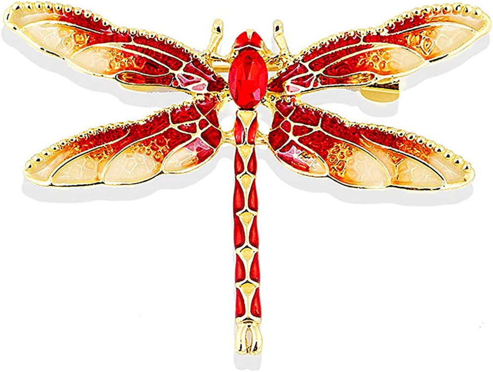 Gleamart Enamel Dragonfly Brooch Insect Animal Dragonfly Pins for Women