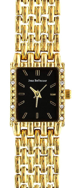 Jean Bellecour – reds25-gb Damen-Armbanduhr – Quarz Analog – Zifferblatt schwarz Armband Stahl vergoldet Gold