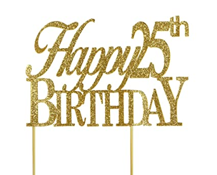 Image Unavailable Not Available For Color All About Details Gold Happy 25th Birthday Cake Topper