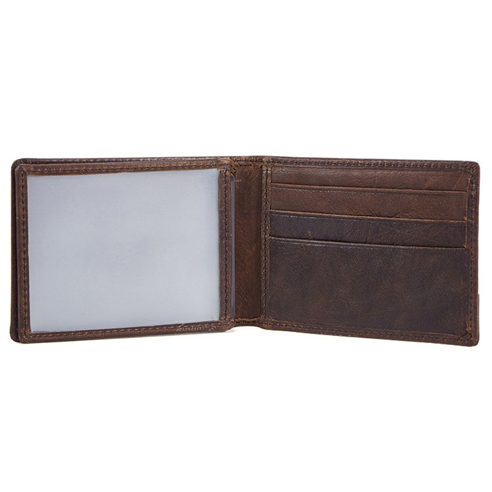 MuLier Crazy Horse Genuine Leather Organizer Card Holder Wallet Driver License Card Case (Coffee) CH0055-Coffee