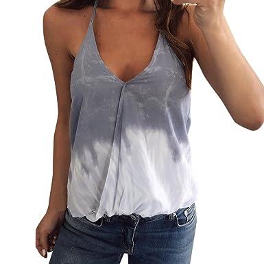 URSING Damen Tank Tops Frauen Casual Gedruckt Ärmelloses Sling Bluse Top  Sexy V-Ausschnitt 251026e3a1