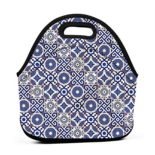 Removable Shoulder Strap Patchwork,Azulejo Tile Motifs Art,corgi lunch bag for girls ()