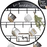 AJART Coffee Mug Holder (22.8''/ Black) Large Wall Mounted Storage Display Organizer Rack for Coffee Mugs, Tea Cups| Hand forgerd Coffee Cup Rack.