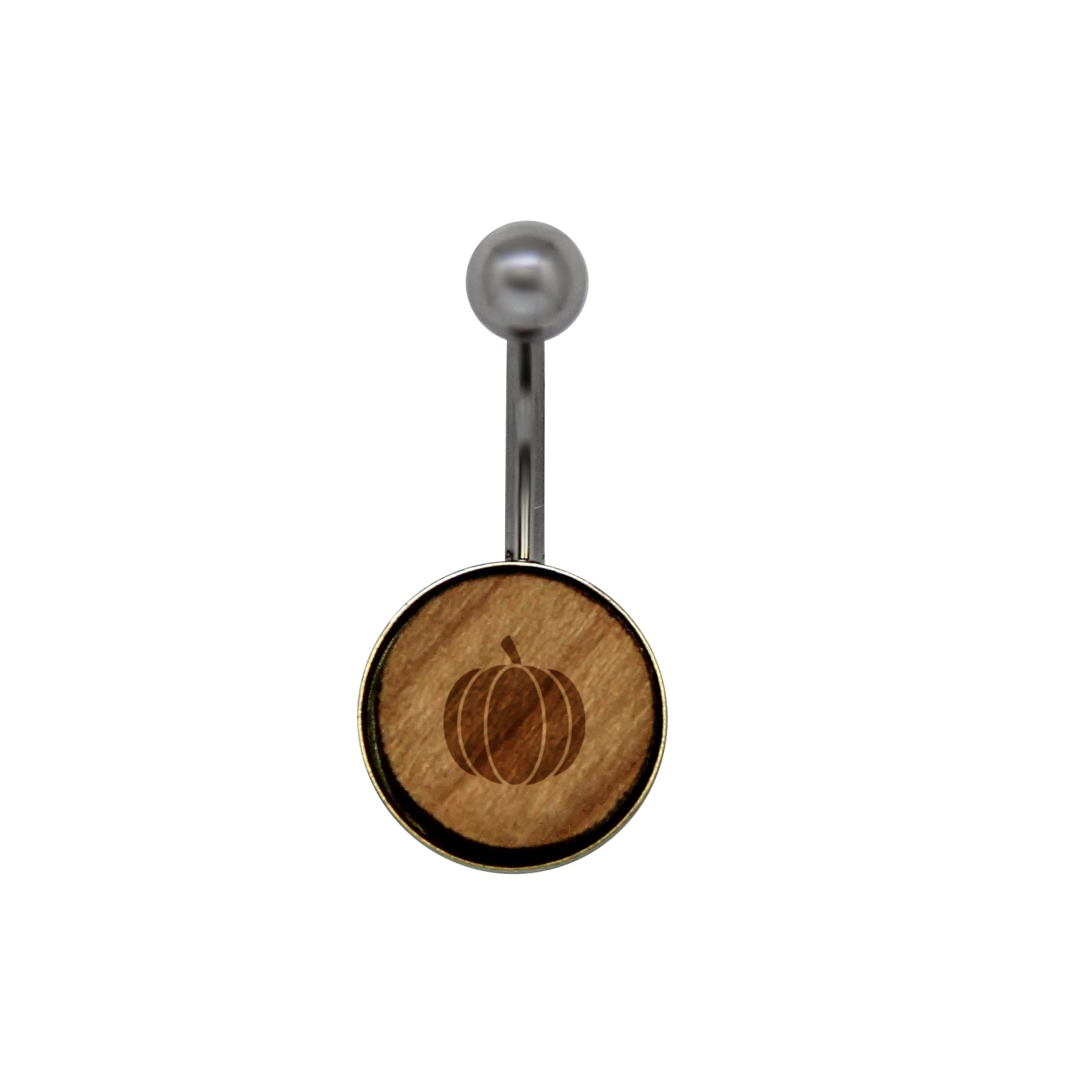 Pumpkin Surgical Stainless Steel Belly Button Rings - Size 14 Gauge Wooden Navel Ring - Rustic Wood Navel Ring With Laser Engraved Design