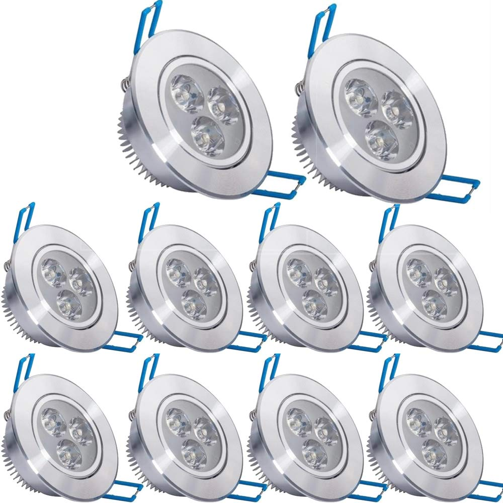 Pack of 10,Pocketman 110V 3W LED Ceiling Light Downlight,Cool White Spotlight Lamp Recessed Lighting Fixture,with LED Driver