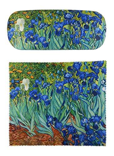 Van Gogh Irises Painting Art premium quality eyeglass case and matching Irises Painting art microfiber eyeglasses cleaning cloth