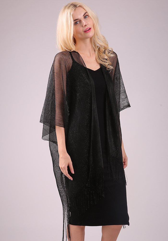 MissShorthair Womens Glitter Open Front Cardigans Sheer Metallic Long Kimono with Tassel by MissShorthair (Image #3)