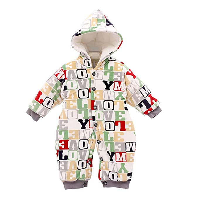 9648c88fc Amazon.com  Infant Baby Boys Girls Letters Print Hoodie Rompers ...