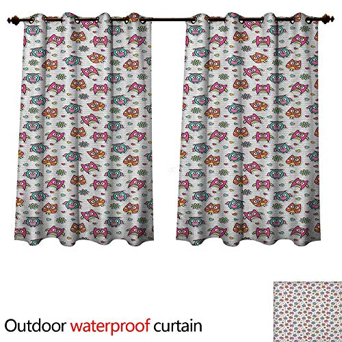Anshesix Owls Outdoor Curtains for Patio Sheer Cute Cartoon Owls Hearts and Daisy Flowers Romantic Funny Characters Scrapbook Style W55 x L45(140cm x 115cm)