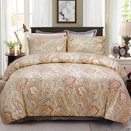 Paisley Satin Pillowcase - Softta Luxury Paisley Bedding Set 4Pcs Duvet Cover + Fitted Sheets Set + 2 Pillowcases King Size,100% Egyptian Long-Staple Satin Cotton Khaki