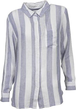 Rails Mujer Lino Blusa Charli en rayas azul y blanco Ocean ...