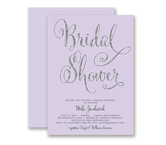 bridal shower invitations lilac silver glitter look modern elegant calligraphy pastel purple glam wedding shower